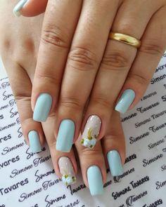 24 Modelos de Unhas decoradas românticas com flores Nail Polish Designs, Nail Polish Colors, Nail Art Designs, Holiday Nails, Christmas Nails, Different Nail Shapes, Beautiful Nail Designs, Flower Nails, Blue Nails