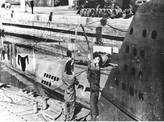 Type XXI boat U-3017 at Horten U-boat base after the cease-fire in 1946 & prior to her transfer to Lisahally..