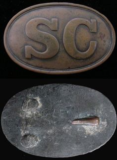 """The large oval South Carolina Waist Belt Buckle shown here is the rarest of the three SC ovals, rating an eight on the """"Mullinax"""" rarity scale. This particular buckle is one of the most noted SC buckles extant. It is pictured on page 39, Volume XXII, No .2 of North South Trader's Civil War Magazine. It is also pictured on page 37 of Relics of South Carolina and was once part of the renowned Topper collection. The word """"Glendale"""" carved into the back of the buckle indicates that it..."""
