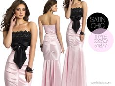 Camille la Vie pink and black strapless prom dress
