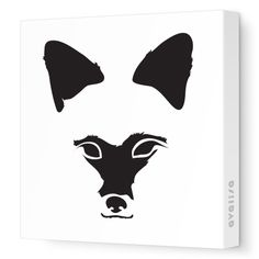 Black Fox Face - Animal Faces - Avalisa.com #nursery #wallart #art #canvas