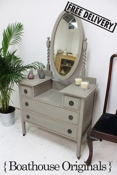 Vintage French Shabby Chic Mirrored Dressing Table Hand Painted in Annie Sloan | eBay