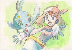 There should be many stories in the long series, but Haruka has a strong image of Manaphy. Pokemon W, Pokemon Movies, First Pokemon, Pokemon People, Pokemon Ships, Pokemon Special, Pokemon Fan Art, Cool Pokemon, Pokemon Advanced