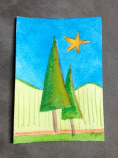 Original watercolor ACEO of Two Trees by abuzzcard on Etsy, $10.00
