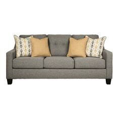 Cool and contemporary with a touch of mid-century flair, the Daylon sofa in graphite gray is a sight for sore eyes after a long, hard day. The sofa's box cushion styling is beautified with button-tufted accents and sloped track arms that go with the flow. Amish Furniture, Living Room Furniture, Queen Sofa Sleeper, Queen Memory Foam Mattress, Furniture Showroom, Contemporary Sofa, Signature Design, Living Room Sets, Fabric Sofa