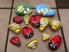 River rock bumble bees, lady bugs and more!