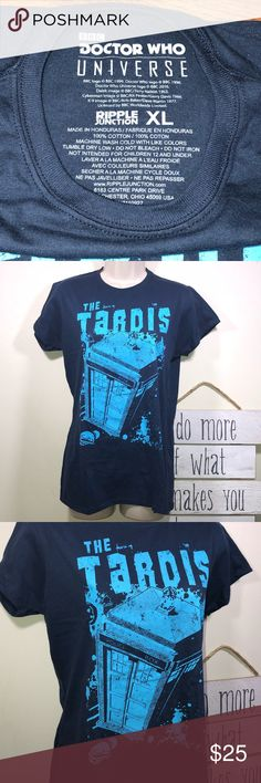 Doctor Who Tardis Fitted Women's Tee XL NWOT BBC Doctor Who's TARDIS  Time and Relative Dimension In Space Fitted Women's Graphic Tee Extra Large Dark blue Approx Measurements Chest: 18in Length: 26.5 Tops Tees - Short Sleeve