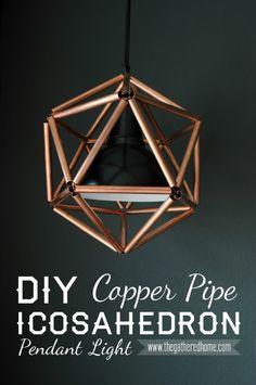 Copper Pipe Icosahedron Pendant Light Fixture