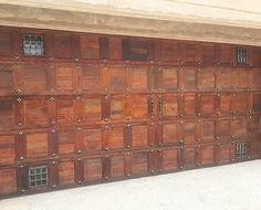 Double Horizontal Slatted Wooden Garage Door with Chrome Stud ...