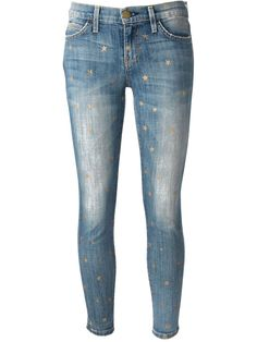 Blue stretch cotton star jeans from Current/Elliott featuring belt loops, a button and zip fly, a five pocket design, a faded effect, a short length and a gold-tone star print.