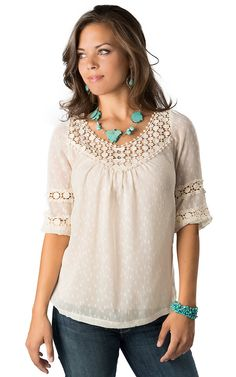 Angie Women's Ivory Swiss Dot and Lace 3/4 Sleeve Fashion Top