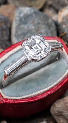 """Circa ring is centered with one Cut Cornered Square Step cut (a. """"Asscher Cut"""") diamond set into a four-prong head. The shoulders are each accented with one channel set, baguette cut diamond. The ring measures at the top, rises Asscher Cut Diamond Engagement Ring, Diamond Rings, Hipster Rings, Steampunk Rings, Silver Skull Ring, Skull Jewelry, Jewlery, Fine Jewelry, Classic Engagement Rings"""