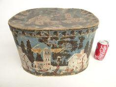 19th c. Wallpaper Hat Box