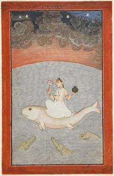 The Goddess Ganga - river goddess. Mandi, Himachal Pradesh, India ca. 1650-1675. opaque watercolor, gold, and silver on paper