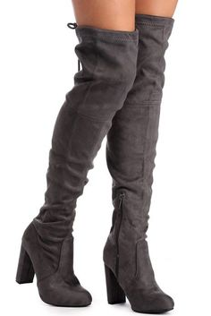Charcoal Suede Over The Knee Boots