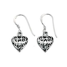 Silver Oxidised Filigree Heart Drop Earrings