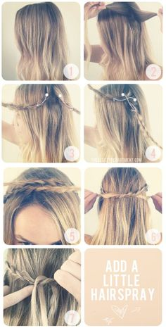 It seems pretty easy, but it's not. Not everyone has long hair that reaches all the way around the head to make a perfect crown of braids. Girls with short hair need braids TOO! Using this technique, you make small, overlapping intersections of braids to create a full crown. Here's how: go to page for instructions