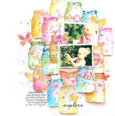 Precious Remembrance Shop DT Project - Oh So Fun & Date Stamp Sets; used watercolor on the mason jar stamp; Paige Evans Turn the Page butterflies; Bella Blvd Tiny Text Alphas; Heidi Swapp puffy sticker; MAMBI stickers