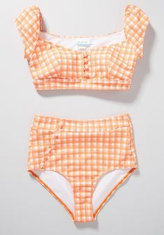 Retro Plus Size Two Piece Bathing Suits, Love the bright orange gingham of this cute plus size swimsuit. Plus Size Retro Swimwear. Find the perfect retro or vintage inspires swimwear in plus sizes. Cute Plus Size Swimsuits, Plus Size Bikini Bottoms, Women's Plus Size Swimwear, Retro Swimwear, Curvy Swimwear, Vintage Swimsuits, High Waisted Bikini Bottoms, Bikini Top, Plus Size Two Piece