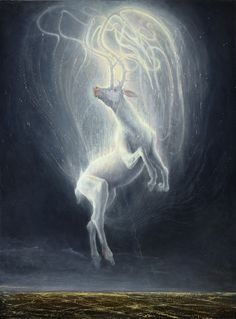 The Celtic people considered White Deer to be messengers from the otherworld… Arte Obscura, Celtic Mythology, Deer Art, Surrealism Painting, Celtic Art, Gods And Goddesses, Mythical Creatures, Fantasy Creatures, Fantasy Art