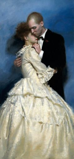 """""""Embrace"""" 30x64, oil on canvas - Teresa Oaxaca -This is a painting of me and someone special. I am very open about displaying my work and providing details about it but I keep the private life separate. I suppose painting in itself is quite autobiographical."""