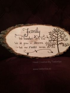 Family Roots quote wood burned onto a tree slice. Hand created items by Timberle… Family Roots quote wood burned onto a tree slice. Hand created items by Timberlee. Wood Slice Crafts, Wood Burning Crafts, Wood Burning Patterns, Wood Burning Art, Wooden Crafts, Tree Slices, Wood Slices, Wood Projects, Woodworking Projects