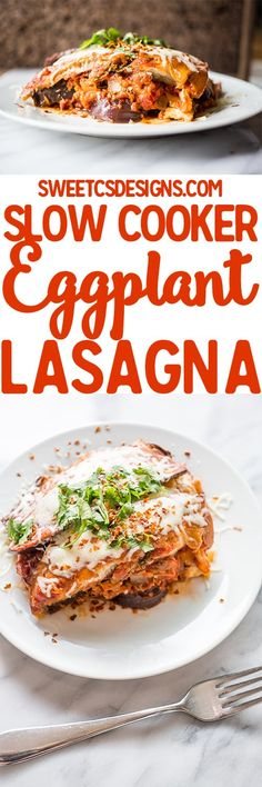 A quick, easy and cheesy healthy meal in the slow cooker- this grain and gluten free eggplant lasagna is so good!