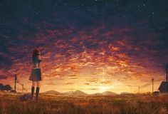 Cute Anime girl Watching the Sunrise Scenery Wallpaper This anime wallpaper is pretty cool. The sunrise is pretty cool. I like the clouds a lot. I hope you like this anime wallpaper a lot. These cute anime wallpapers feature a lot of cute anime sceneries.