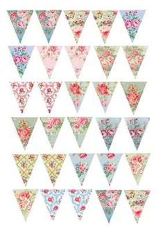 30 Vintage Shabby Chic Floral Rose Bunting Cake/Cupcake Rice Paper Toppers | eBay