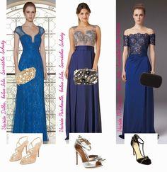 Maquiagem, sandália e bolsa para usar com vestido de festa azul