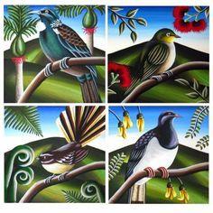 NZ Birds & Landscape - TashArt Nz Art, Art For Art Sake, Artist Painting, Stone Painting, Art Pictures, Art Images, Silouette Art, Maori Symbols, Polynesian Art