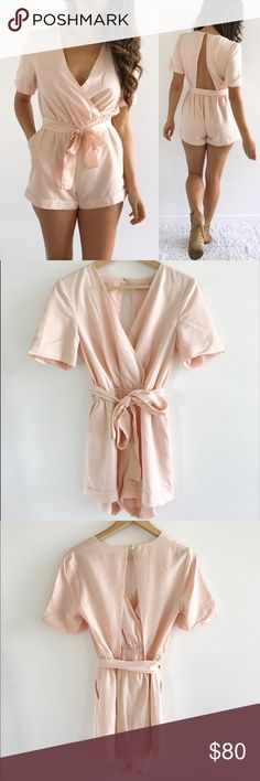 "Finders Keepers Blush Playsuit Romper Finders Keepers Blush Playsuit Romper! Excellent condition. Perfect for summer! Elastic waist band. Open back. Button closure. Comes with spare button attached to material tag. 100% tencel. Lined. Chest-33"" waist-23"" hips-38"" length-29.5"" inseam-2.5"" size Extra Small. Retails: 180 Finders Keepers Pants Jumpsuits & Rompers"