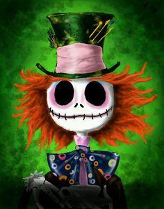 Tim Burton mesh: Jack Skellington and the Mad Hatter! Tim Burton Kunst, Tim Burton Art, Tim Burton Style, Halloween Painting, Halloween Art, Happy Halloween, Halloween Canvas, Halloween Witches, Disney Halloween