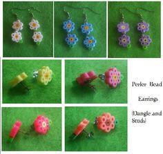 Perler Beads - Perler flower earrigns - Hama - flower earring  #perlerbeads  #hamabeads