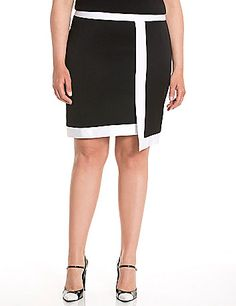 Lane Collection takes a fresh angle on the timeless pencil skirt with an asymmetric cut, and turns up the contrast with modern colorblocking. Sleek, faux wrap design with the perfect touch of stretch to flatter, this versatile skirt is a hot pick for your work-into-weekend wardrobe. Exposed back zipper closure.  lanebryant.com
