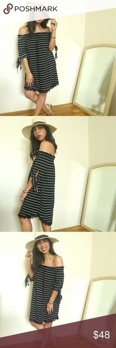 🆕BLACK WHITE STRIPED OFF SHOULDER DRESS This will be your favorite go-to dress this summer! Features a striped print. 3/4 tie sleeves. Plenty of stretch and not form-fitting. Unlined.Eye lash lace hemline. Super comfy and chic. Pair with hat and necklace to finish off the look. Fits TTS.   🍃ALSO AVAILABLE IN WHITE/BLACK  🍃HAT ALSO AVAILABLE   ☞SIZE AVAILABLE: S M l  ☞MODELING SIZE MEDIUM 🍃I.G: @JMAYORGA91   ❌❌❌PRICE FIRM❌❌❌ Dresses