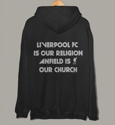 Liverpool FC Is Our Religion Anfield is our Church. Official Liverpool men's hoodie.