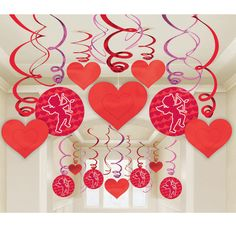 Valentine's Day Decoration: Hanging Swirls with Cutouts from Punchbowl
