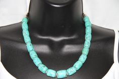 Turquoise Barrel Necklace from Chunky Junk