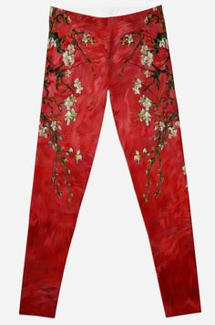 Abstract Daisy Red   Leggings #legging #clothing #tshirt #abstract #vangogh #paintings #starrynight #starry #night #abstractpainting #pattern #popart