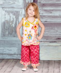 This White & Red Iris Alisa Tunic & Pants - Infant, Toddler & Girls by Jelly the Pug is perfect! #zulilyfinds