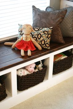 10 DIY Room Makeovers to Inspire You to Buy Under the window storage bench i have a double window and a single window to do this wt but think i will use much brighter colors!too drab for me. Window Storage Bench, Storage Bench Seating, Window Benches, Bench With Storage, Wood Storage, Storage Ideas, Window Seats, Bookshelf Bench, Diy Bench Seat