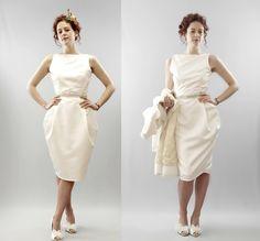 vintage dresses   Short wedding dresses vintage inspired tea length bridal gown column ...