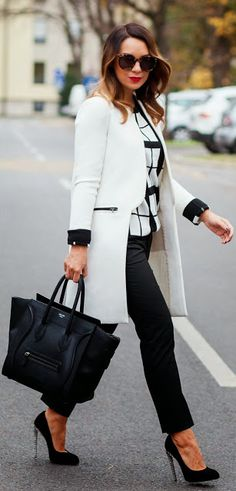 Women's Business Fashion Trend white coat, work outfits, long coat