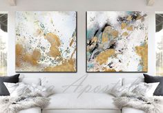 90x45inch Abstract Watercolor Print Gold Leaf Painting Gold
