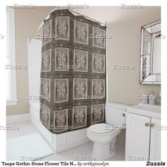 Taupe Gothic Stone Flower Tile Neutral Shower Curtain
