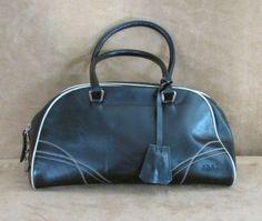 PRADA authentic Black leather purse Handbag lock key bag satchel doctor bowling #PRADA #Satchel
