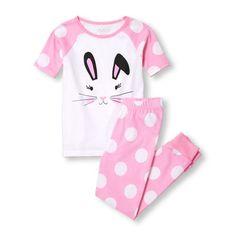 Girls Short Raglan Sleeve Bunny Face Top And Dot Printed Pants PJ Set