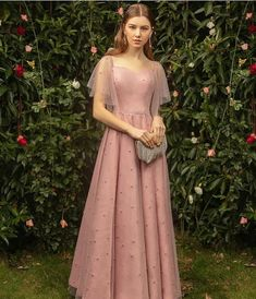Classy Pearl Pink Bridesmaid Dresses 2019 A-Line / Princess Square Neckline Short Sleeve Pearl Floor-Length / Long Ruffle Backless Wedding Party Dresses Bridesmaid Dresses 2017, Prom Dresses, Lace Bridesmaids, Blue Chiffon Dresses, Backless Wedding, Classy Dress, Wedding Party Dresses, Princess Wedding, Asian Dating