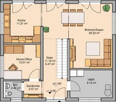 Mit Keller: HWR --> Bad & SPK; Gastzimmer statt HO, etwas größer; Küche & Esszimmer rechts